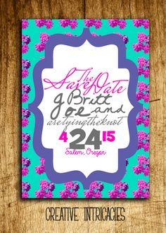 Art Deco Floral Save the Date  Custom Made  by Creativeintricacies