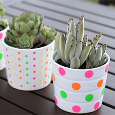 Spruce up simple pots from Ikea with neon office supply stickers and mod podge. Beautiful Turn out and excellent idea