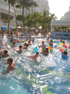 massive water balloon toss in the pool