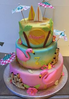 Flamingo Hawaii cake Made by Angelique Bond (luau food party) Flamingo Cake, Flamingo Birthday, Luau Birthday, Hawaii Birthday Cake, Birthday Cakes, Luau Cakes, Beach Cakes, Cupcakes, Cupcake Cakes