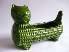 1950s West German Green Glazed Cat Ceramic Planter