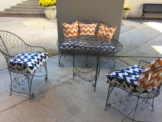 A vignette of classic wire outdoor furniture