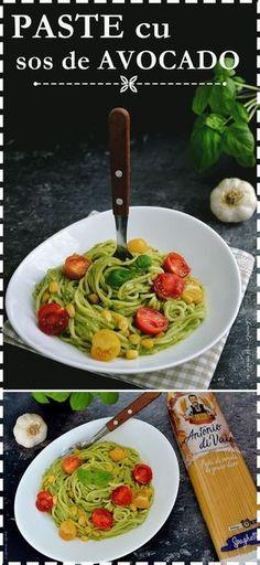 Paste cu sos de avocado Homemade Pasta Sauce Easy, Pasta Sauce Recipes, Cherry Tomato Sauce, Canned Blueberries, Vegan Scones, Scones Ingredients, Cooking Recipes, Healthy Recipes, Vegan Pasta