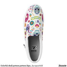 Colorful skull pattern pattern Zipz Low Top Shoes Printed Shoes