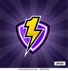 Number 1 logo template. Icon lightning and shield. - stock vector