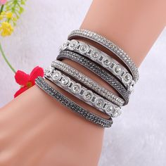 Rhinestone Leather Bracelets For Women 2016 Multilayer Bracelets& Bangles  Bohemian Jewelry Accessories