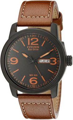 Reloj de acero inoxidable BM8475-26E Citizen Eco-Drive de los hombres con la correa de cuero