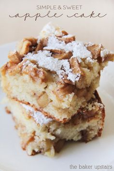 Simple and sweet apple cake from The Baker Upstairs. A tender and moist cake bursting with juicy apples. It's a delicious fall treat! Köstliche Desserts, Delicious Desserts, Dessert Recipes, Yummy Food, Yummy Yummy, Dinner Recipes, Apple Cake Recipes, Baking Recipes, Cookie Recipes