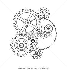 stock vector : clock gear shape blueprint outline