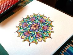 Mandala Designs, inkcircles: Mandala in India ink with watercolor...