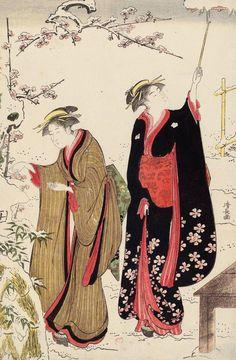 Torii Kiyonaga (Japanese, 1742–1815) - Women in Snowy Garden. Ukiyo-e woodblock print, 1786