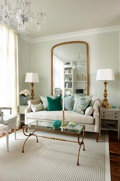 "sarah richardson sarah 101 ""grown up condo"" episode- LOVED this one! Love the mint green with pops of brass/gold."