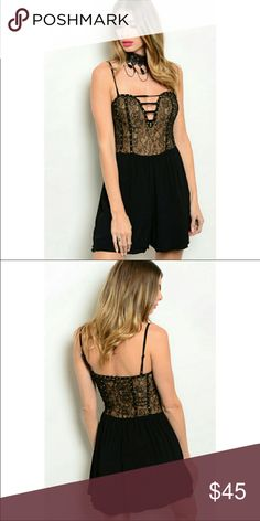 Ark & Co Sexy Plunge Romper New with tags in packaging ☆ Combination short spaghetti strap romper features a floral lace top with low sweetheart neckline and studded vertical trim accent ☆ Solid layered bottom with concealed zip back  By Ark & Co   Sold out in other sizes   Model is wearing the exact style   Plunge  Club Wear Black Lace Lacy Form fitting Evening Wear  Trendy Beautiful Low Cut Lace Up Party Wear Ark & Co Dresses Mini