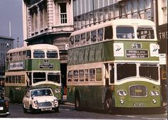 """""""A pair of Southdown double decker bound for Southsea and photographed departing from Portsmouth. Road Transport, Public Transport, Old Pictures, Old Photos, Portsmouth England, 4x4, Hms Victory, Double Decker Bus, Bus Coach"""