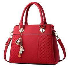 BW Womens Purses and Handbags Ladies Designer Satchel Tote Bag Shoulder Bags - Red Fashion Handbags, Purses And Handbags, Fashion Bags, Leather Handbags, Luxury Handbags, Fashion Women, Travel Handbags, Cheap Handbags, Leather Purses
