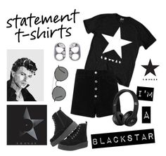"""I'm A Blackstar"" by kris-tin-22 ❤ liked on Polyvore featuring rag & bone/JEAN, Ray-Ban, Marc Jacobs, BLACKSTAR, davidbowie and statementtshirt"