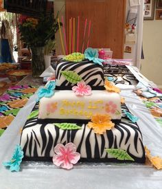 Wild Luau Birthday! - My daughter wanted a wild luau party for her 11th bday so we bought some really cool zebra print luau party stuff. Here is the cake we came up with to match the decor!