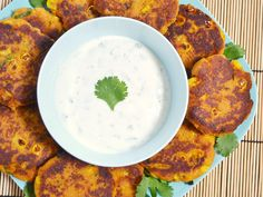 Sweet Potato Corn Cakes with Garlic Dipping Sauce - Budget Bytes