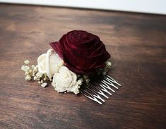 Ivory and burgundy red rustic wedding HAIR COMB made of preserved gypsophila and sola flowers in natural ivory color and dyed in deep red. With beautiful rose flower. On metal comb.  Gypsophila is preserved with a special method, its not dried. Looks just like fresh one.  MADE ON ORDER #weddingflowers