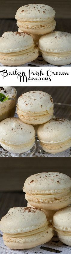 These Baileys Irish Cream Macarons are a delicious French style macaron recipe with creamy Baileys Irish Cream filling./Sprinkle tips with a small amount of cinnamon. Baileys Irish Cream, Baking Recipes, Cookie Recipes, Dessert Recipes, Frosting Recipes, Just Desserts, Delicious Desserts, Yummy Food, Baileys Recipes
