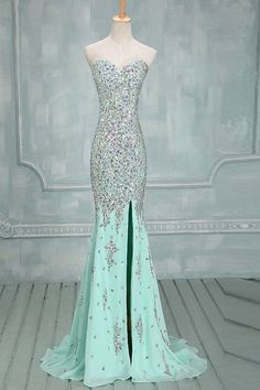 Mermaid Beaded Mint Front Split Long Prom Dress Evening Dresses ED0646