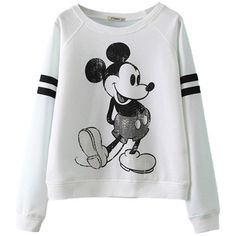 ReliBeauty Cropped Boyfriend Sweatshirt with Cute Mickey Mouse Print found on Polyvore