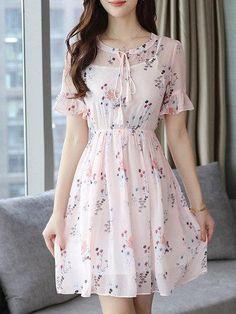 #Spring #AdoreWe #PopJulia - #PopJulia Frill Sleeve A-line Floral Chiffon Ruffled Tie-neck Elegant Dress - AdoreWe.com