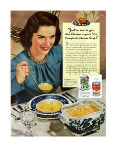 1941 Campbell's Chicken Soup Vintage Ad, 1940's Housewife, Retro Ad, 1940's…