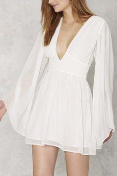 Plunge Neck Bell Sleeve High Waist Sexy Dress
