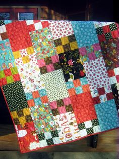 Life is Like a Box of Chocolates pattern Wee Woodland fabric Life is like a box of chocolates quilt pattern. This would be really cute in solids of pink, peach, and browns. This is a purchased pattern - but looks simple enough to create as a stash buster Big Block Quilts, Lap Quilts, Scrappy Quilts, Quilt Blocks, Patchwork Quilting, Patch Quilt, Chocolates, Scrap Quilt Patterns, Block Patterns