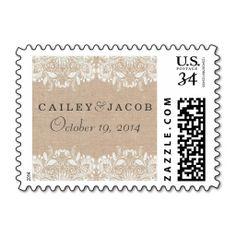 Burlap & Lace Wedding Postage Stamp