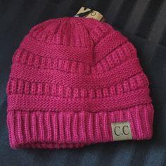 C. C Beanie Raspberry Colored Beannie Accessories Hats