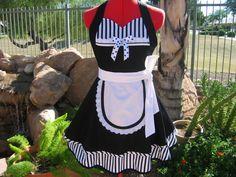 Aprons - Full - Womens - Pin Up - Handmade -  Scarlet Chic Sassy Sweetheart Apron - French Sexy Maid. $42.00, via Etsy.