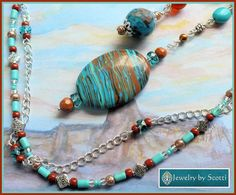 Turquoise Charm Southwestern Gemstone Necklace, Statement Necklace, Larimar Jasper Howlite, Lampwork, Copper, Silver Chain, Toggle Clasp