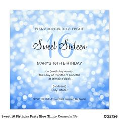 "Sweet 16 Birthday Party Blue Glitter Lights Card Elegant ""Sweet 16 ( Sixteen ) Party"" design with Blue Glitter Lights, and custom name and details text. Impress your family and friends with this stylish and glamorous design. Fully customizable! Easy to use and easy to personalize. Order Today!"