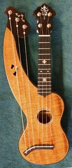 harp ukulele so weird yet fascinating, have never seen harp ukulele only harp guitars . Bass Ukulele, Banjo, Guitar Art, Acoustic Guitar, Unique Guitars, Cigar Box Guitar, Mandolin, World Music, Sound Of Music