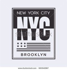 Vector illustration on the theme in New York City, Brooklyn. Stylized American flag. Typography, t-shirt graphics, poster, print, banner, flyer, postcard