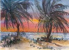Watercolor on Paper Dimensions: x inches, ACEO--Art Cards, Editions, and Originals Art Cards, Easy Watercolor, Paper Dimensions, Watercolours, Palms, Cat Art, Acrylics, Illusions, Exotic