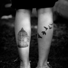 Birds Flying From the Cage Leg Tattoo for Couples