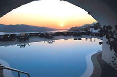 The lovely pool at the Canaves Oia Suites in Greece.