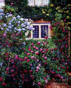 David Lloyd Glover English Manor House Roses Painting | Best English Manor House Roses Paintings For Sale