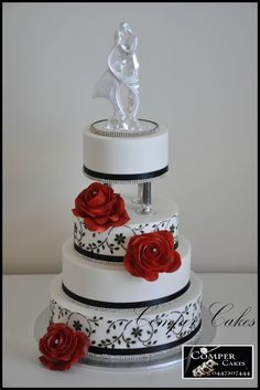 wedding cake black, white and red.
