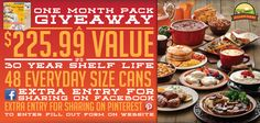 Enter by St. Patrick's Day 2014 over at Augason Farms Round 3! Enter to win an Augason Farms One Month Pack. $225.99 Value. Enter by St. Patrick's Day, 2014!
