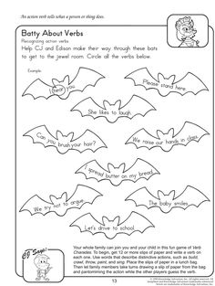 Batty About Verbs - Free English Worksheets for Grade - LOVE the Verbs Charades idea! This will be happening in my student-teaching classroom next week! 2nd Grade Worksheets, Free Printable Worksheets, Kindergarten Worksheets, Worksheets For Kids, Number Worksheets, Grammar Worksheets, Alphabet Worksheets, Printables, Second Grade Writing