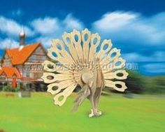 Wood-3D Peacock (9.5 Tall) Wooden 3D Jigsaw Puzzle