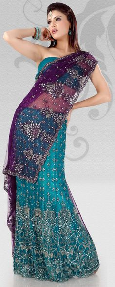 Purple And Teal Blue Net Lehenga Saree With Unstitched Blouse