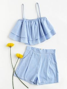 Stripe Tiered Crop Cami Top And Shorts Set