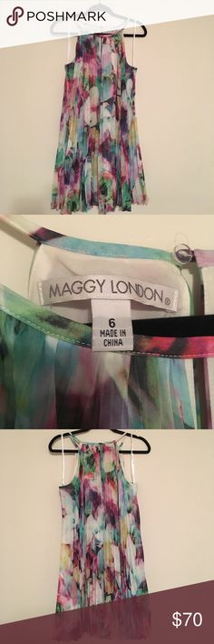 Maggy London Chiffon Floral Pleated Dress Maggy London Chiffon Floral Pleated Dress - size 6 - worn once - like new Maggy London Dresses