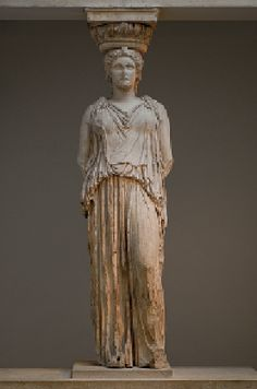 [Phidias, Caryatid from the south porch of the Erechtheion, Acropolis, Athens, Greece, ca. 421-405 BCE, Marble] The role of the caryatids as architectural supports for the unusal flat roof is underscored by the vertical flutelike drapery folds concealing their stiff, weight-bearing legs. The Classical architect-sculptor successfully balanced the dual and contradictory functions of these female statue-columns. The figure have enough rigidity to suggest the structural column.((Kleiner 133)