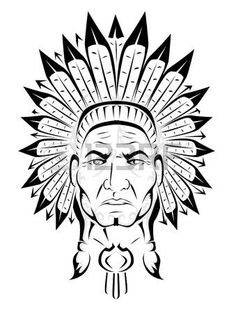 Illustration of Native American Head vector art, clipart and stock vectors. Indian Chief Tattoo, Indian Feather Tattoos, Indian Feathers, Apache Indian, Native Indian, Native Art, American Indian Art, Native American Art, American Indians